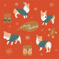 Merry Christmas and Happy New Year cute dogs