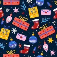 Pattern with christmas gift boxes vector