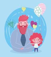 padre e hija con globos y diamantes.