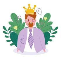 Avatar man cartoon with crown  vector