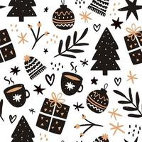 Hand drawn seamless pattern for christmas vector