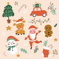 Set of Christmas elements vector