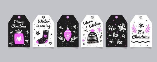 etiquetas navideñas dibujadas a mano vector