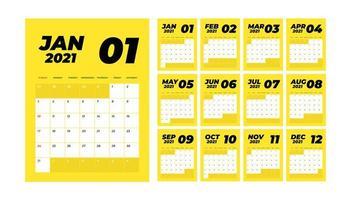 calendario de escritorio mensual del año 2021 vector