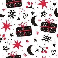 Hand drawn Christmas seamless pattern vector