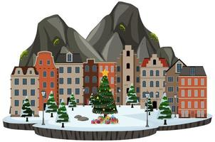 cena isolada de cidade nevada vetor