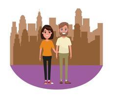 pareja avatar retrato de personaje de dibujos animados vector