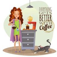 mujer joven bebiendo café vector