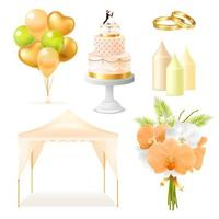 Realistic wedding decoration set