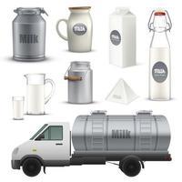conjunto de productos lácteos vector