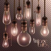 Set of realistic, vintage, and transparent light bulbs