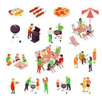 Isometric family picnic and barbecue set