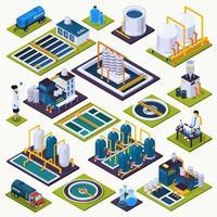 conjunto de iconos de estaciones de tratamiento de agua isométrica vector