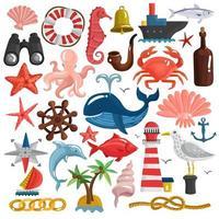 Cute nautical set vector