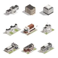 Isometric government buildings icon set vector