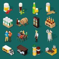 conjunto de iconos de la industria de la cerveza isométrica