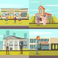 People in front of municipal buildings set vector