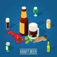 Isometric kraft beer poster vector