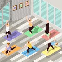 Isometric people doing yoga