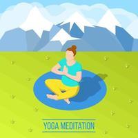 Isometric woman doing yoga outdoors vector