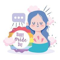 Girl cartoon with LGBTI seal stamp  vector