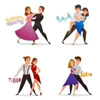 Set of cartoon couples dancing