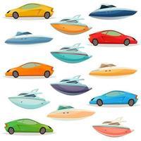 Set of cartoon cars and yachts
