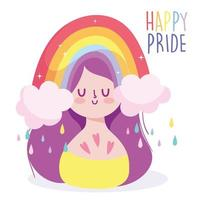 Girl cartoon with LGBTI rainbow vector