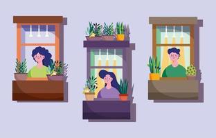 fachada con vecinos en windows vector