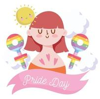 Girl cartoon with LGBTI and sun cartoon  vector