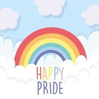 LGBTI rainbow with clouds of Happy Pride vector