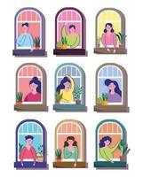 hombres y mujeres en dibujos animados de ventanas de edificios residenciales vector