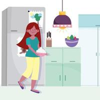 Girl holding bowl with food in the kitchen vector