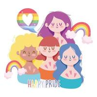 Girls cartoons with LGBTI rainbows vector
