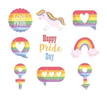 Happy Pride day LGBTI icon set  vector