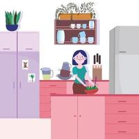 Girl baking bread in the kitchen vector