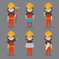 Girl Construction Workers with Various Activities vector