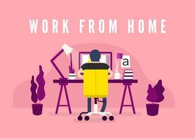 Work From Home Workspace  vector