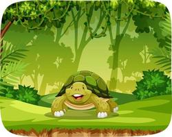 schildpad in jungle-thema-instelling vector