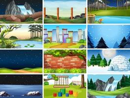 Set of nature scenes and seasons vector