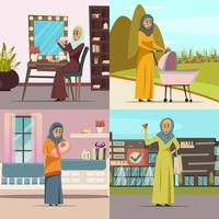 Middle Eastern women doing daily activities set vector