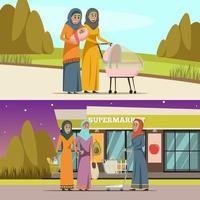 Middle Eastern women doing daily activities banner set vector