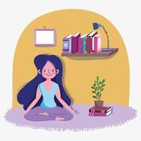 adolescente, posar, yoga, en, habitación, actividad