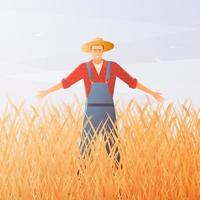 Happy farmer in a wheat field