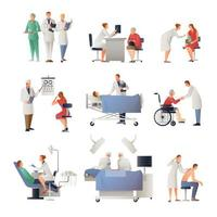 Set of doctors and nurses with patients