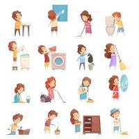 colección de niños limpiando y haciendo tareas domésticas. vector