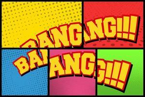 paneles de semitono de cómic con texto bang vector