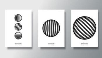 conjunto de fondos blancos con diseños de círculos rayados