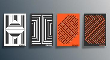 volante de diseño lineal naranja, negro, blanco, cartel, folleto