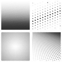 conjunto de patrones negros de semitono aislado en un blanco